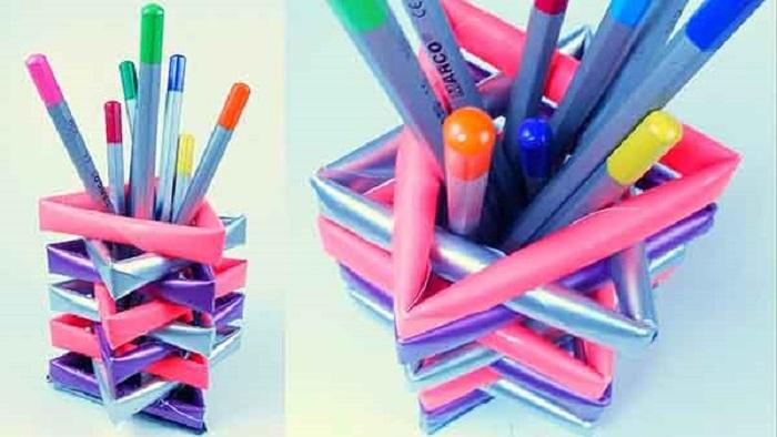 làm hộp đựng bút bằng ống hút